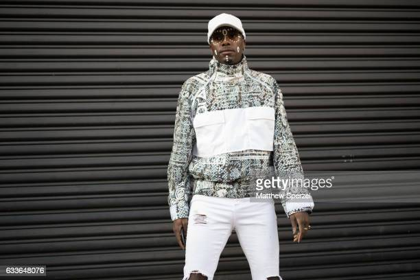 A guest is seen attending Stampd/Willy Chavarria/Orley while wearing an allwhite outfit on February 2 2017 in New York City
