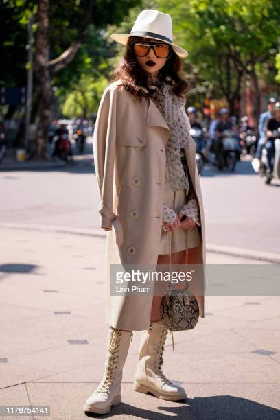 Guest is seen attending the best street style program during Vietnam International Fashion Week on October 29 2019 in Hanoi Vietnam