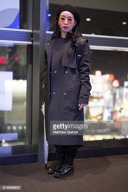 A guest is seen attending the Keita Maruyama show during Tokyo Fashion Week on March 14 2016 in Tokyo Japan