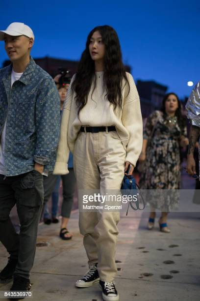 A guest is seen attending VFILES during New York Fashion Week wearing a cream outfit on September 6 2017 in New York City