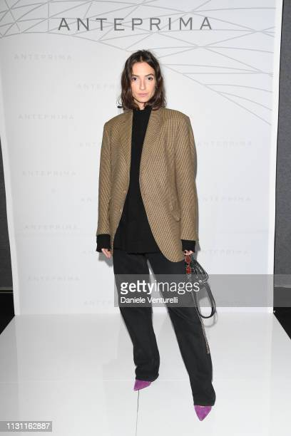 A guest is seen backstage ahead of the Anteprima show at Milan Fashion Week Autumn/Winter 2019/20 on February 21 2019 in Milan Italy