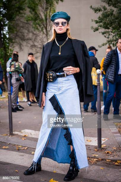 Guest is seen before the Celine show during Paris Fashion Week Womenswear SS18 on October 1 2017 in Paris France