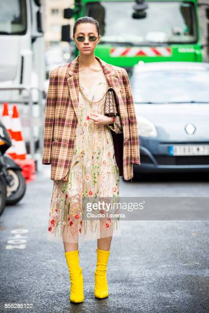 A guest is seen before the Chloe fashion show during Paris Fashion week Womenswear SS18 on September 28 2017 in Paris France