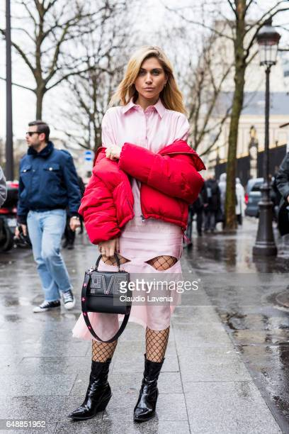 A guest is seen before the Giambattista Valli show during Paris Fashion Week Womenswear Fall/Winter 2017/2018 on March 6 2017 in Paris France