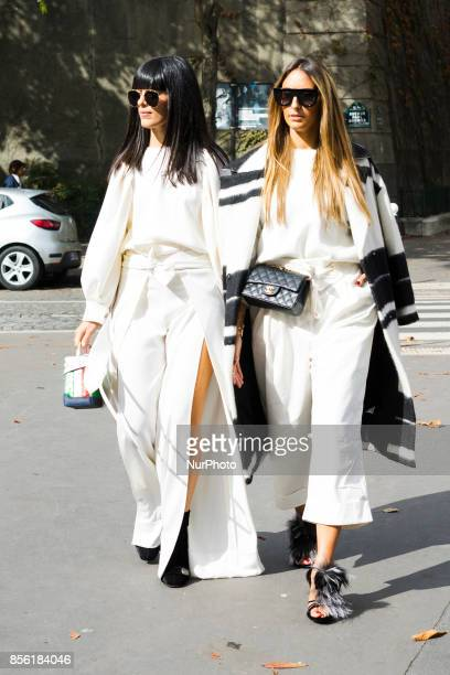 A guest is seen before the Loewe show during Paris Fashion Week Womenswear SS18 on September 29 2017 in Paris France