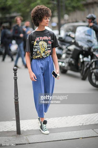 A guest is seen before the Ralph Russo show during Paris Fashion Week Haute Couture F/W 2016/2017 on July 4 2016 in Paris France