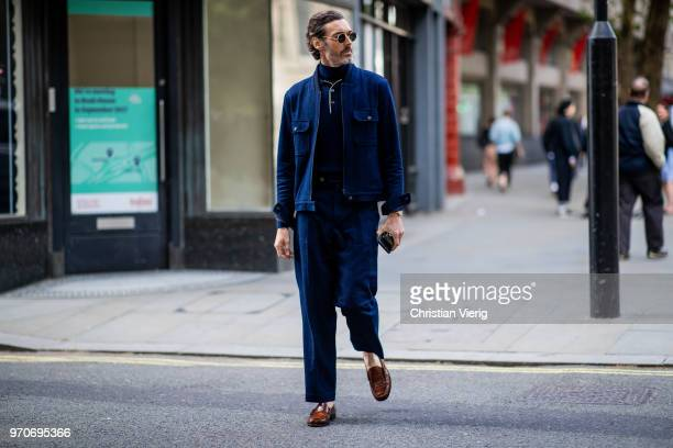 A guest is seen during London Fashion Week Men's June 2018 on June 9 2018 in London England