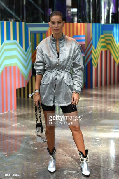 Guest is seen during Mercedes-Benz Istanbul Fashion Week at Zorlu Performance Hall on October 10, 2019 in Istanbul, Turkey.