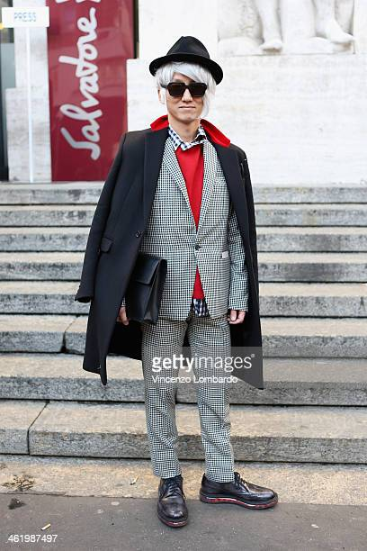 Guest is seen during Milan Fashion Week Menswear Autumn/Winter 2014 on January 12 2014 in Milan Italy