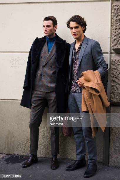 A guest is seen during Milan Men's Fashion Week Autumn/Winter 2019/2013 on 13 January 2019 in Milan Italy