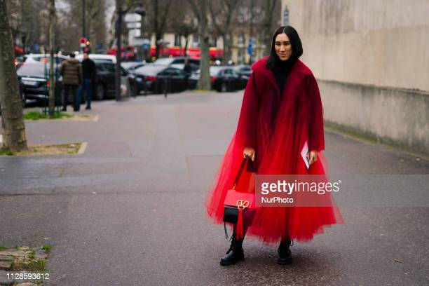 A guest is seen during Paris Fashion Week Womenswear Fall/Winter 2019/2020 on March 03 2019 in Paris France