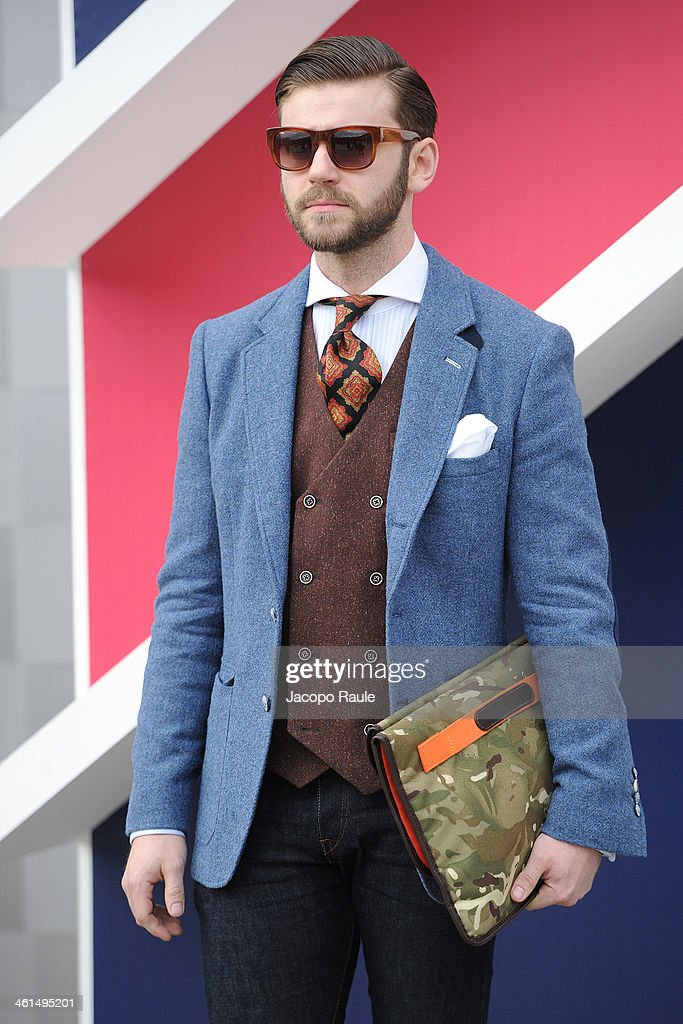 Guest is seen during Pitti Immagine Uomo 85 on January 9, 2014 in Florence, Italy.
