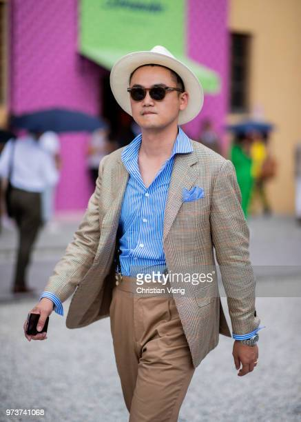 A guest is seen during the 94th Pitti Immagine Uomo on June 13 2018 in Florence Italy