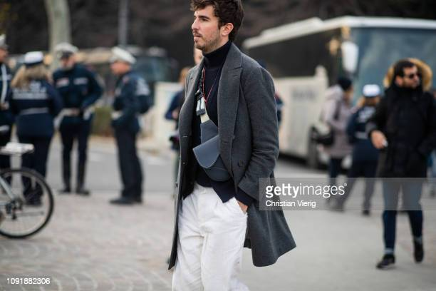 Guest is seen during the 95th Pitti Uomo at Fortezza Da Basso on January 09, 2019 in Florence, Italy.