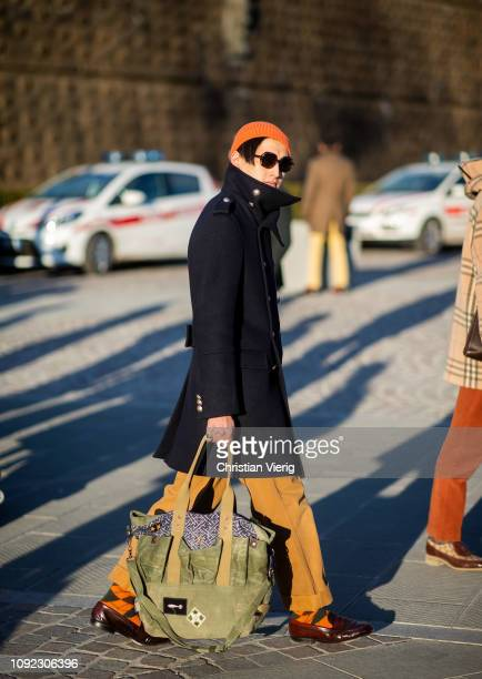 A guest is seen during the 95th Pitti Uomo at Fortezza Da Basso on January 10 2019 in Florence Italy