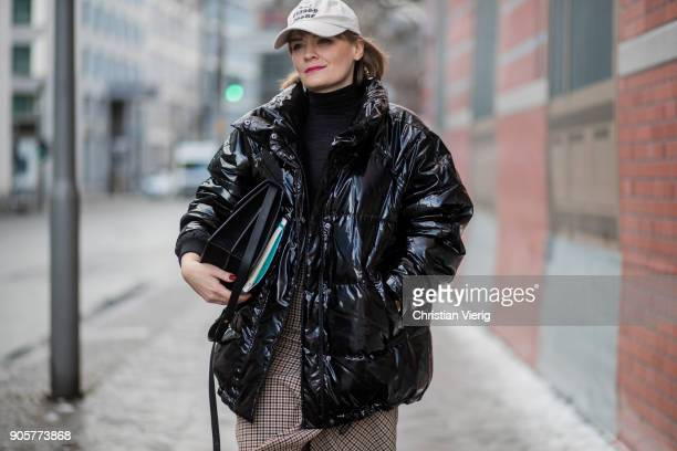 A guest is seen during the Berlin Fashion Week January 2018 at Bauakademie on January 16 2018 in Berlin Germany