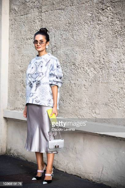 Guest is seen in the streets of Milano before the Prada show during Milan Fashion Week Spring/Summer 2019 on September 20 2018 in Milan Italy
