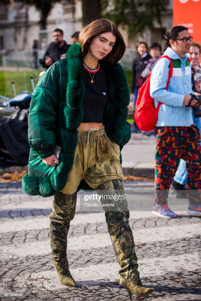 A guest is seen in the streets of Paris, after the Chanel show during Paris Fashion Week Womenswear SS18 on October 3, 2017 in Paris, France.