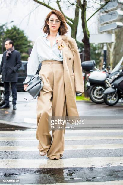 Guest is seen in the streets of Paris before the Celine show during Paris Fashion Week Womenswear Fall/Winter 2017/2018 on March 5 2017 in Paris...