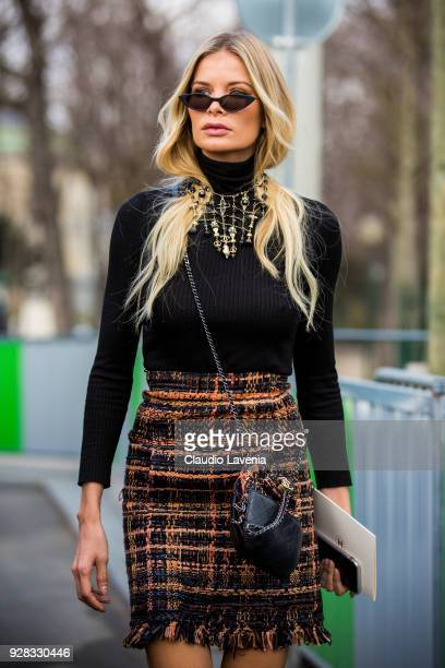 Guest is seen in the streets of Paris before the Chanel show during Paris Fashion Week Womenswear Fall/Winter 2018/2019 on March 6 2018 in Paris...