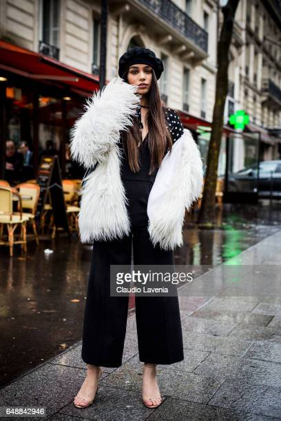 Guest is seen in the streets of Paris before the Giambattista Valli show during Paris Fashion Week Womenswear Fall/Winter 2017/2018 on March 6 2017...
