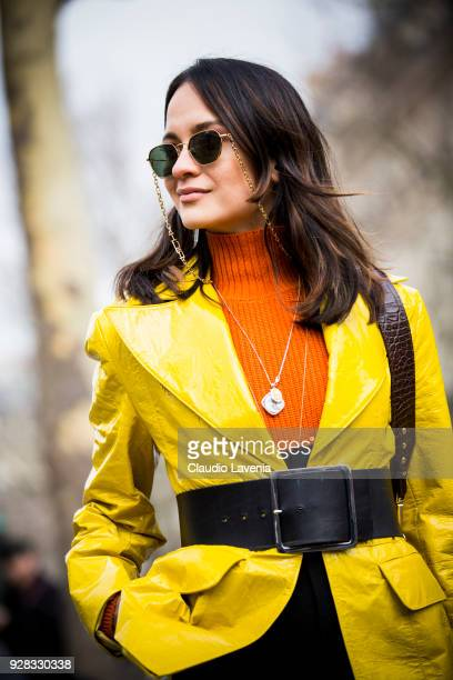 Guest is seen in the streets of Paris before the Miu Miu show during Paris Fashion Week Womenswear Fall/Winter 2018/2019 on March 6 2018 in Paris...