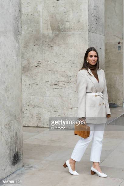 Guest is seen in the streets of Paris during the Paris Fashion Week on October 1 2017 in Paris France
