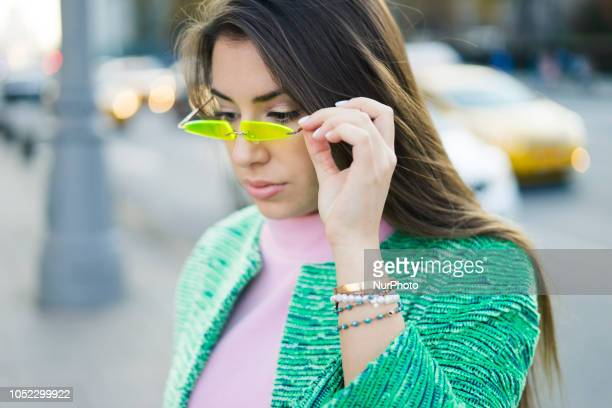A guest is seen on street during the Mercedes Benz Fashion Week Russia Spring/Summer 2019 day four on October 15 2018 in Moscow Russia