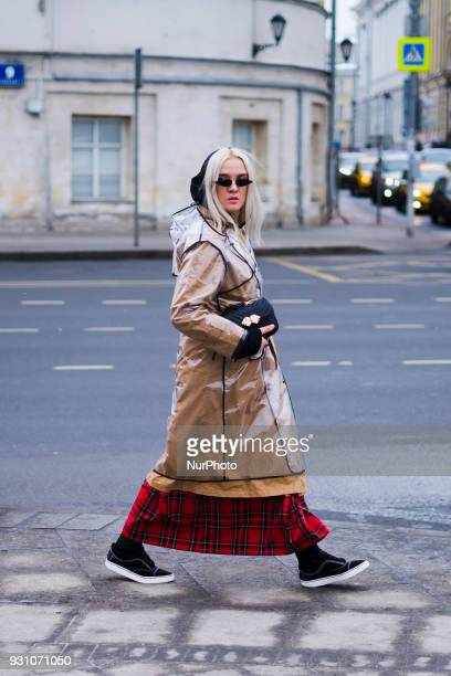 A guest is seen on street during the Mercedes Benz Fashion Week Russia Fall/Winter 2018/19 on March 12 2018 in Moscow Russia