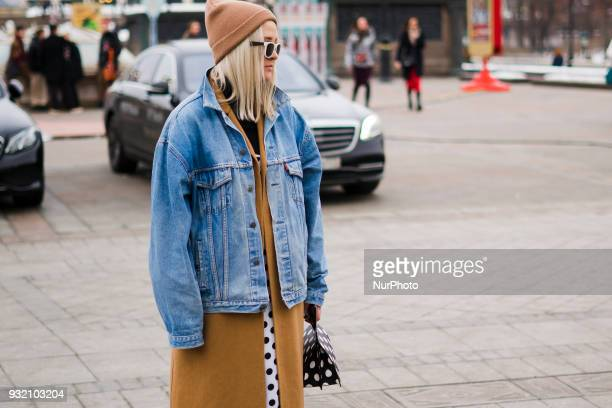 A guest is seen on street during the Mercedes Benz Fashion Week Russia Fall/Winter 2018/19 day four on March 13 2018 in Moscow Russia
