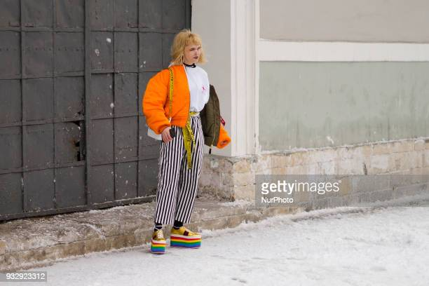 A guest is seen on street during the Mercedes Benz Fashion Week Russia Fall/Winter 2018/19 day six on March 15 2018 in Moscow Russia