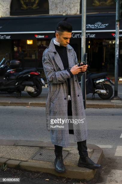 A Guest is seen on the set of the Dolce amp Gabbana Advertising Campaign street style during Milan Men's Fashion Week Fall/Winter 2018/19 on January...