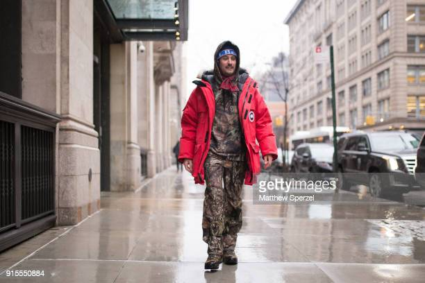 4770bfbdf6586 A guest is seen on the street attending Landlord during New York Fashion  Week Men s wearing