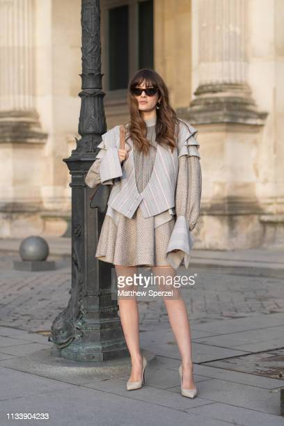 Guest is seen on the street attending LOUIS VUITTON during Paris Fashion Week AW19 wearing LOUIS VUITTON on March 05, 2019 in Paris, France.