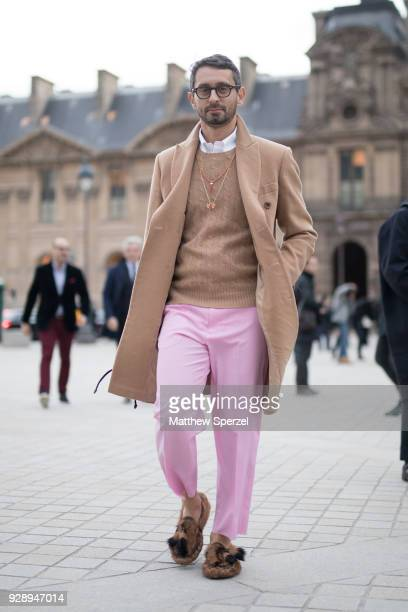 2ebef2470f7c2 A guest is seen on the street attending Louis Vuitton during Paris Women s  Fashion Week A
