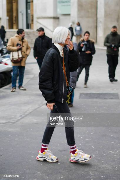 A guest is seen on the street attending Rick Owens during Paris Fashion Week Women's A/W 2018 Collection on March 1 2018 in Paris France