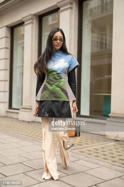 A guest is seen on the street during London Fashion Week February 2019 wearing Ports 1961 on February 16 2019 in London England