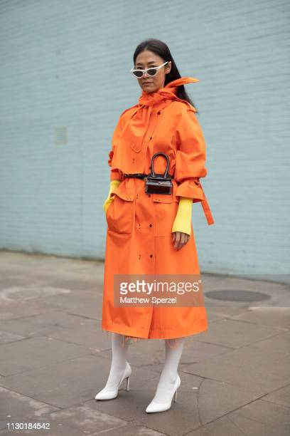 A guest is seen on the street during London Fashion Week February 2019 wearing Eudon Choi on February 16 2019 in London England