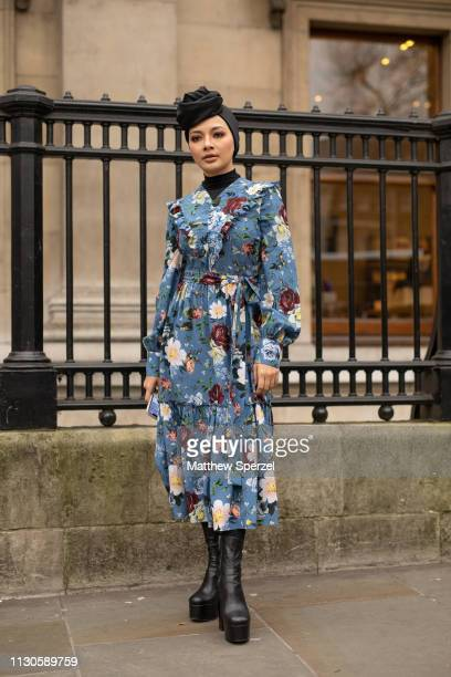 Guest is seen on the street during London Fashion Week February 2019 wearing ERDEM on February 18, 2019 in London, England.