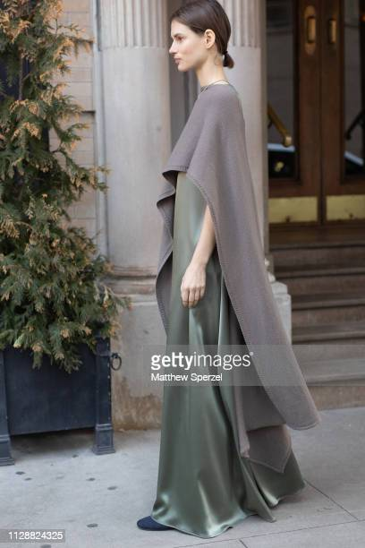 A guest is seen on the street during New York Fashion Week AW19 wearing Deveaux on February 10 2019 in New York City
