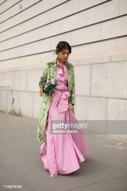 A guest is seen on the street during New York Fashion Week AW19 wearing Carolina Herrera on February 11 2019 in New York City