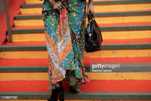 Guest is seen on the street during New York Fashion Week AW19 wearing Alice & Olivia on February 11, 2019 in New York City.