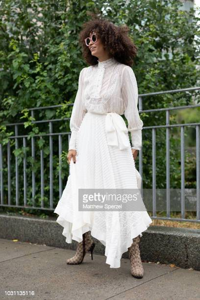 A guest is seen on the street during New York Fashion Week SS19 wearing Zimmermann on September 10 2018 in New York City
