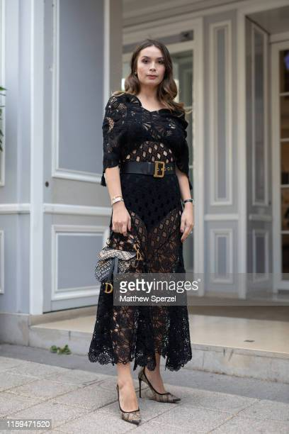 A guest is seen on the street during Paris Fashion Week Haute Couture wearing Dior on July 01 2019 in Paris France