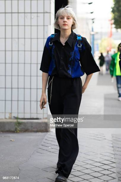 A guest is seen on the street during Paris Men's Fashion Week S/S 2019 wearing Alyx on June 24 2018 in Paris France