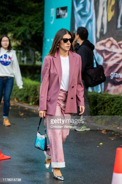 Guest is seen outside Akris during Paris Fashion Week Womenswear Spring Summer 2020 on September 29, 2019 in Paris, France.