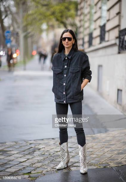 A guest is seen outside Alessandra Rich during Paris Fashion Week Womenswear Fall/Winter 2020/2021 Day Five on February 28 2020 in Paris France