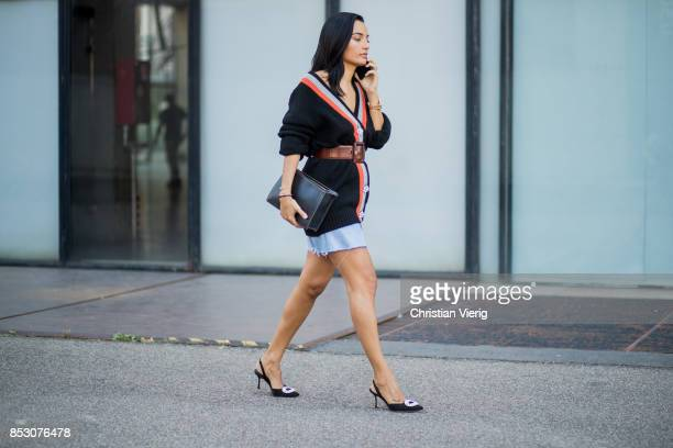 A guest is seen outside Au Jour Le Jour during Milan Fashion Week Spring/Summer 2018 on September 24 2017 in Milan Italy