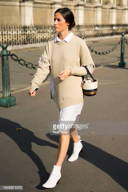 A guest is seen outside Balmain during Paris Fashion Week Womenswear Spring/Summer 2019 on September 28 2018 in Paris France
