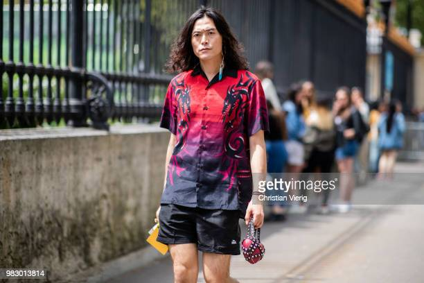 A guest is seen outside Balmain on day six of Paris Fashion Week Menswear SS19 on June 24 2018 in Paris France